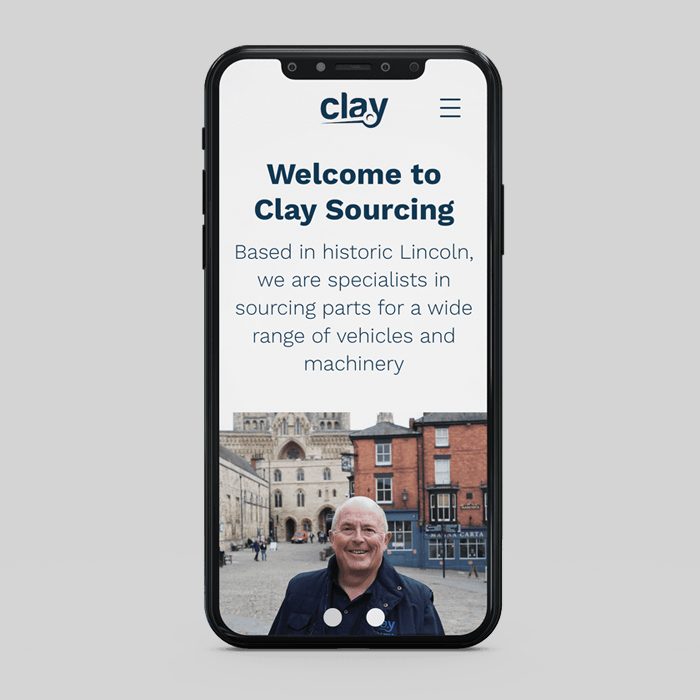 iPhone displaying Clay sourcing website