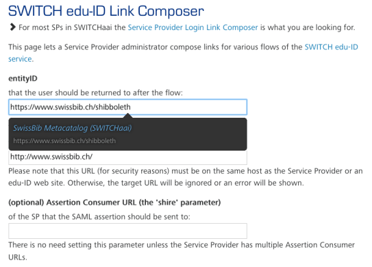 Screenshot edu-ID Login Link Composer