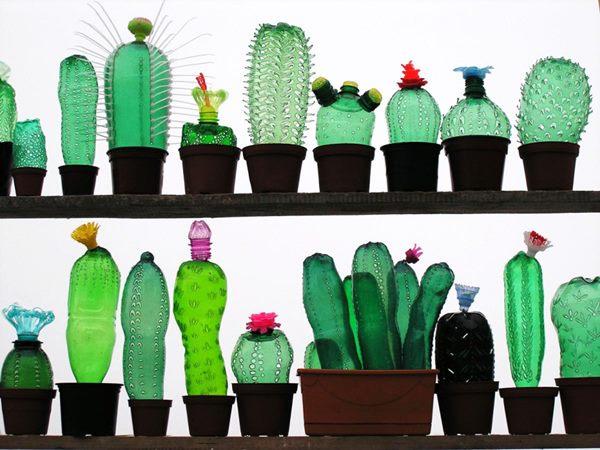 hiasan unik kaktus dari botol plastik bekas - IDEPROPERTI.COM