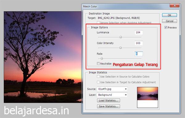 Pengaturan gambar Match Color