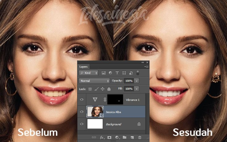 gigi putih dengan photoshop