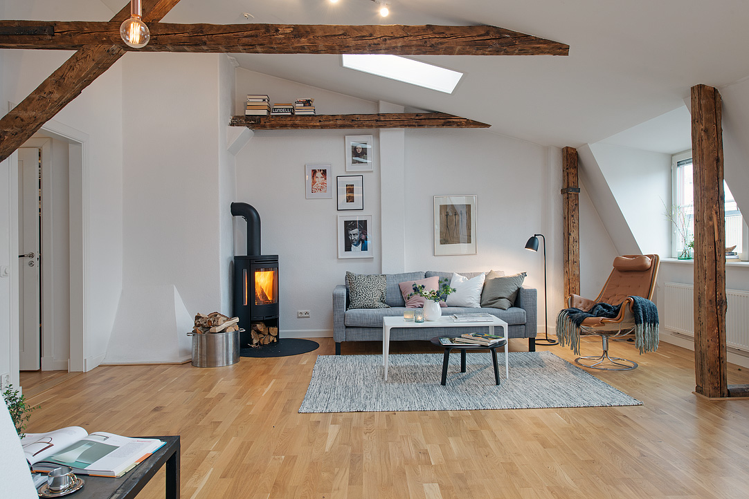 Brick Fireplaces Refurbished Loft Apartment With Exposed Wood Beams