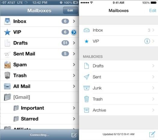 iOS 6 vs iOS 7 Mail App
