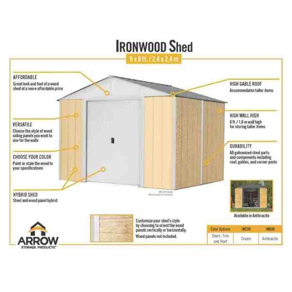 מפרט מחסן גינה משולב עץ ומתכת