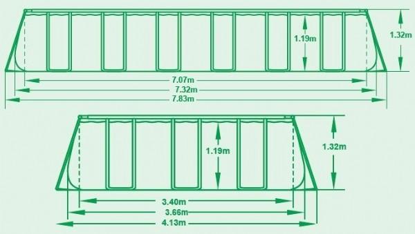 בריכה מלבנית Bestway 56475 732X366X132 כולל משאבת חול 1500 גלון