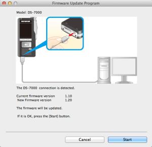 Mac Olympus DS-7000 Firmware v1.20 Update Screen Shot
