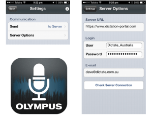 Configure Olympus Dictation app Android iPhone for ODDS portal