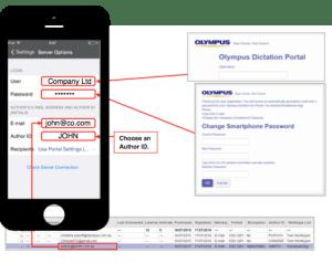 Olympus Dictation App Smartphone Configuration Settings