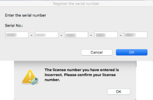 The license number you have entered is incorrect. Please confirm your license number.