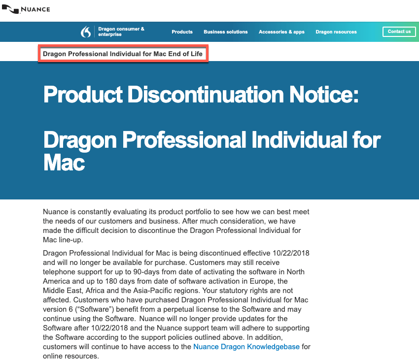 Nuance End-Of-Life Discontinue Dragon for Mac