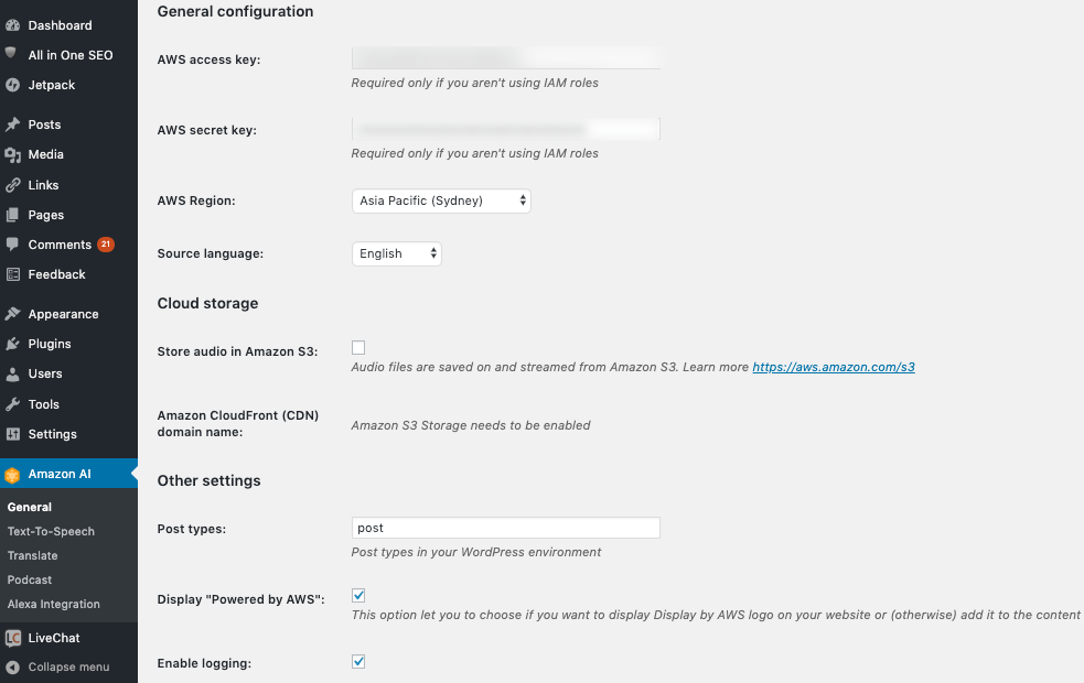 Image Shows Amazon AI WordPress Plugin General Settings