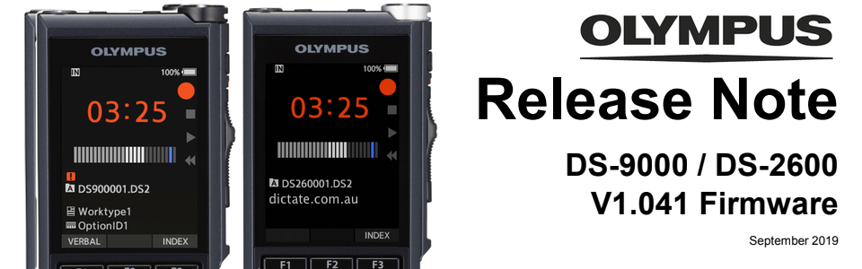 Download latest firmware update for Olympus DS 9000 and DS 2600 dictaphone