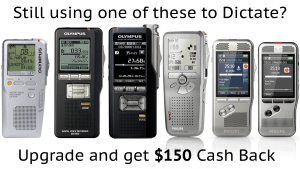 Replace Olympus Philips or Sony digital voice recorder, get $150 cashback