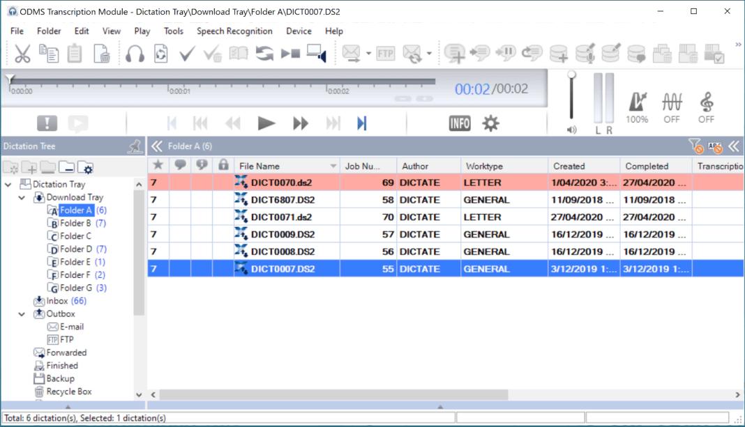 Olympus ODMS R7 Transcription Module screenshot