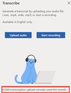 Microsoft Word Transcribe 300 audio minutes free per month