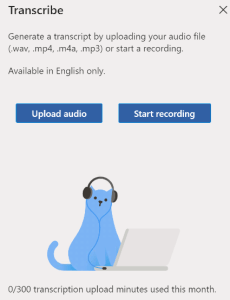 Microsoft Transcribe 300 minutes of voice to text for free per month
