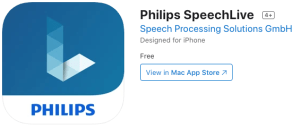 Philips Speechlive app for iOS iPhone