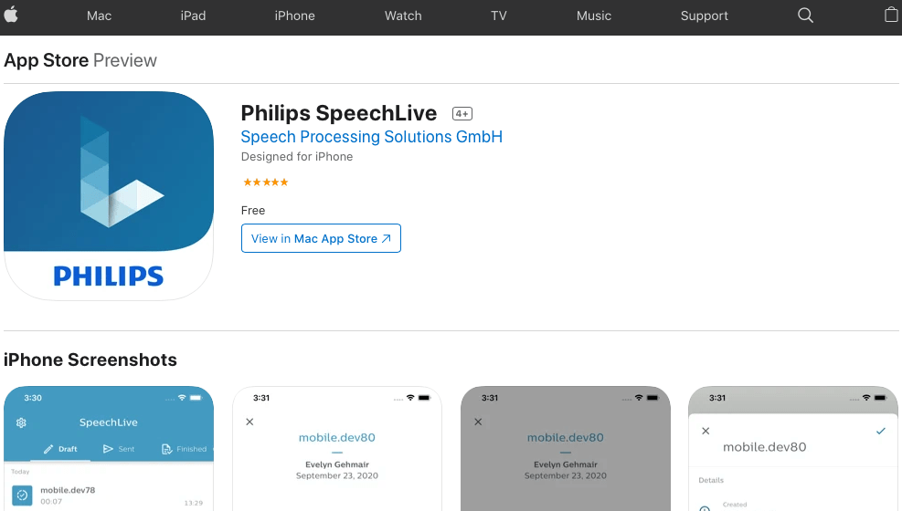 Philips Speechlive iOS App v1.2.0