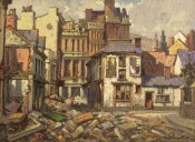 painting Cross street 1941 swansea blitz