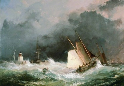 Pilot boats leaving Swansea Harbour 1860