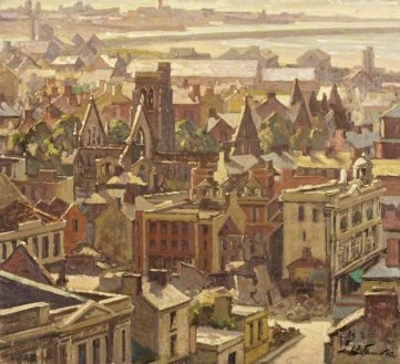 painting 1941 Oxford street and St mary's swansea