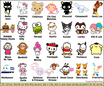 ESL/EFL exercise with Hello Kitty characters (0.3MB PDF)