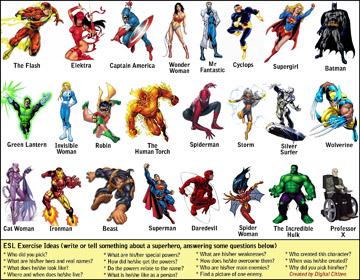 ESL/EFL exercise involving comic superheroes (0.6MB PDF)