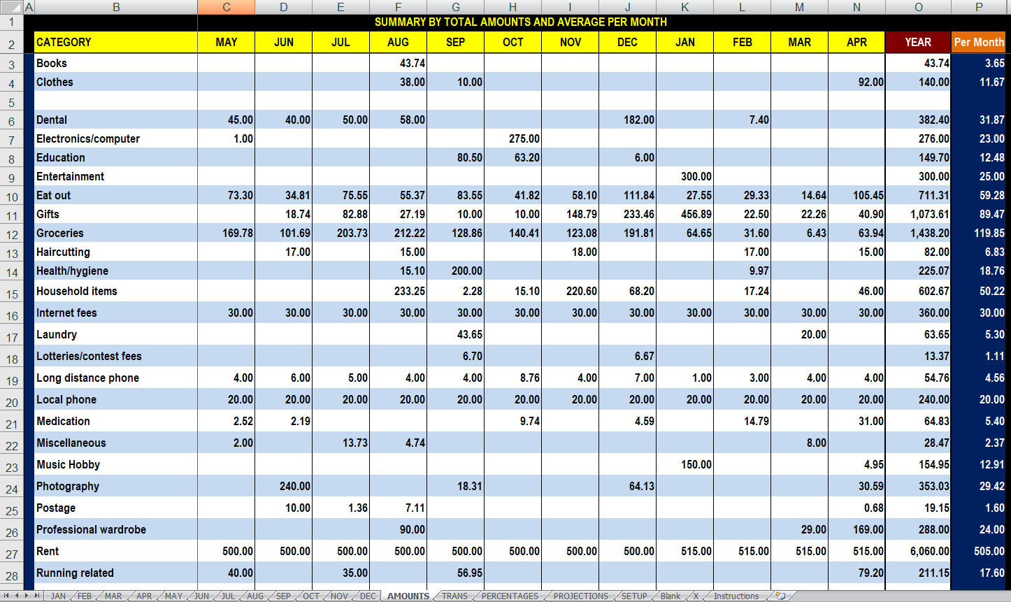 Free 12 Month Advanced Finances Tracking and Analysis Spreadsheet ...