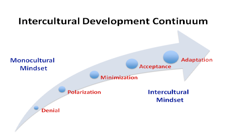 Arrow arcing up and to the right, with the the far left representing a 'monocultural mindset' and the far right representing an 'intercultural mindset.'