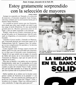 Juan Arango y su debut con la Vinotinto