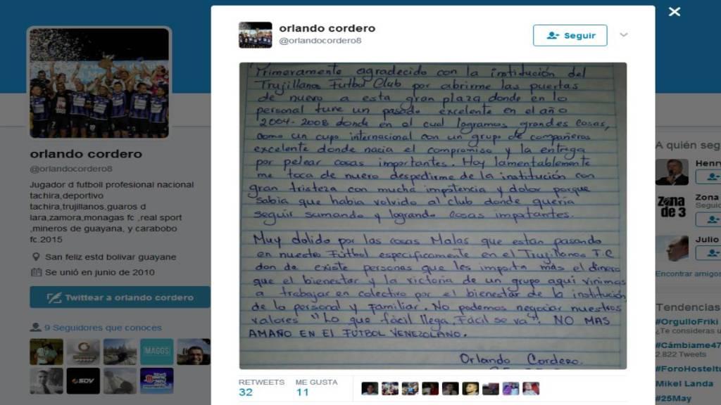Post de Orlando Cordero denunciando el amaño de partidos en Trujillanos