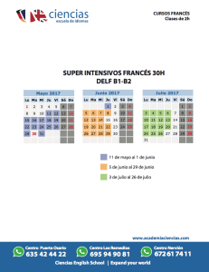 calendrio super intensivo frances 30 horas delf b1 b2
