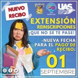 Extensión Reinscripcón - Nuevo recibo hasta el 1ro de septiembre.