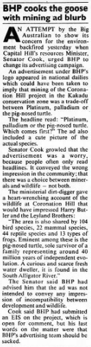 BHP coronation hill advert 10-3-1989