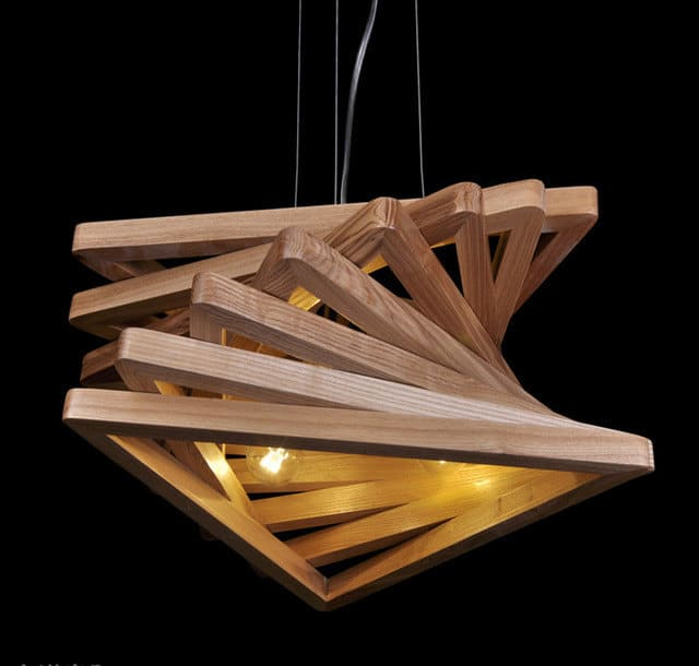 Modern Wood Ceiling Fans Triangle Tunnel Solid Wood Chandelier • Id Lights