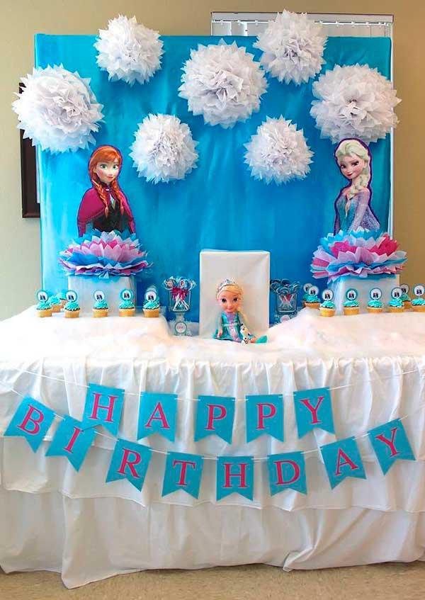 como decorar mesa de dulces de frozen