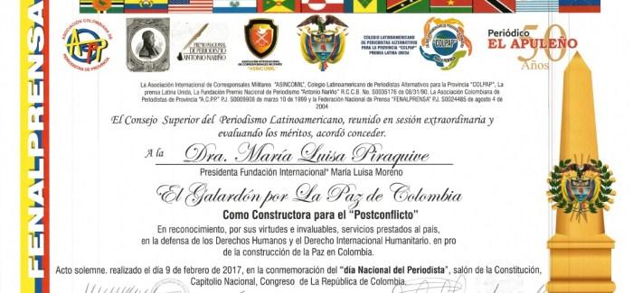 """Dra. Maria Luisa Piraquive: Galardón por la Paz de Colombia como constructora para el """"Postconflicto"""""""