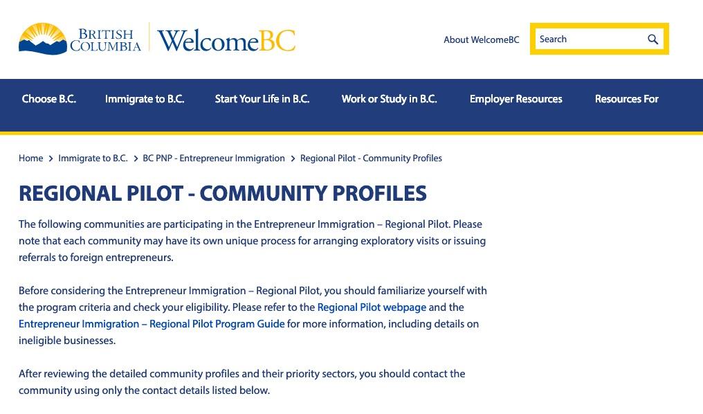 BC Regional Pilot Community Profiles