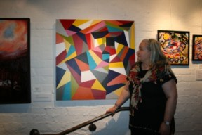 """TAC's """"Picture This"""" Exhibition 2012 at Gasworks Arts Park - Albert Park Melbourne. Photo featuring Abstract Painting No. 45F Titled """"A Fractured Life"""" by Abstract Artist: Karen Robinson. NB: All images are protected by copyright laws!"""