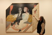 Karen Robinson standing next to 'David Hockney The second marriage 1963' at National Gallery of Victoria's 'Art as Therapy' Works July 2014 NB: All images are protected by copyright laws!