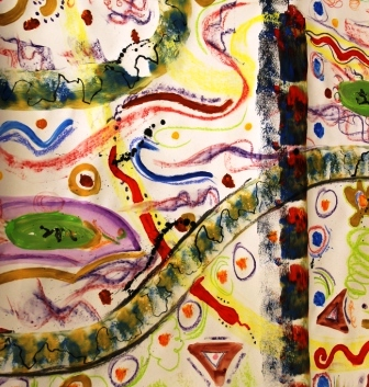Art Therapy Session No. 4 'Using music to inspire the artist within!' Painting by the Art Therapy Group View 2 of 6 - August 2014 All images protected by copyright laws.JPG