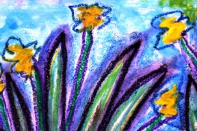7 - Art Therapy Session No. 5 'Going to a safe place!' Painting by Abstract Artist Karen Robinson Sept 2014 NB All images are protected by copyright laws! .JPG