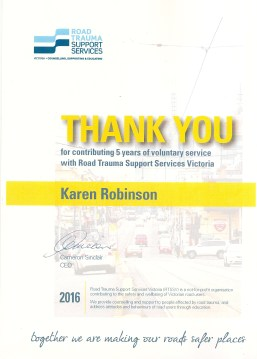 RTSSV 'THANK YOU' for 5 years volunteering by Karen Robinson NB All images are protected by copyright laws