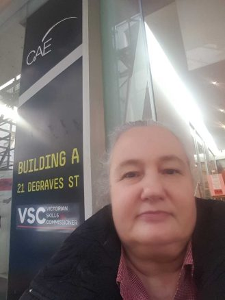 Out front of CAE on Flinders Lane, Melbourne, Australia - Selfie taken by Karen Robinson July 2016 NB All images are protected by copyright laws