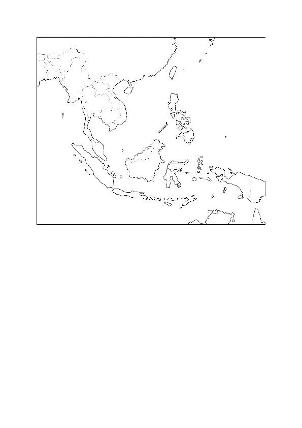 Peta Asia Tenggara Kosong Hitam Putih