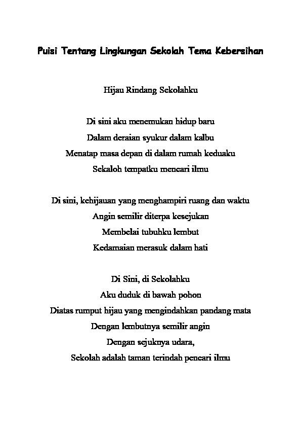 Puisi Bahasa Jawa Tentang Lingkungan : puisi, bahasa, tentang, lingkungan, Contoh, Syair, Tentang, Kebersihan, Lingkungan, Cikimm.com