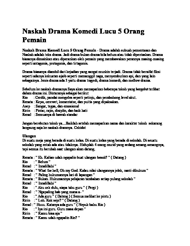 Drama Komedi Percintaan 5 Orang : drama, komedi, percintaan, orang, Naskah, Drama, Komedi, Orang, Pemain