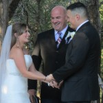 Texas Old Town wedding, officiant and the couple