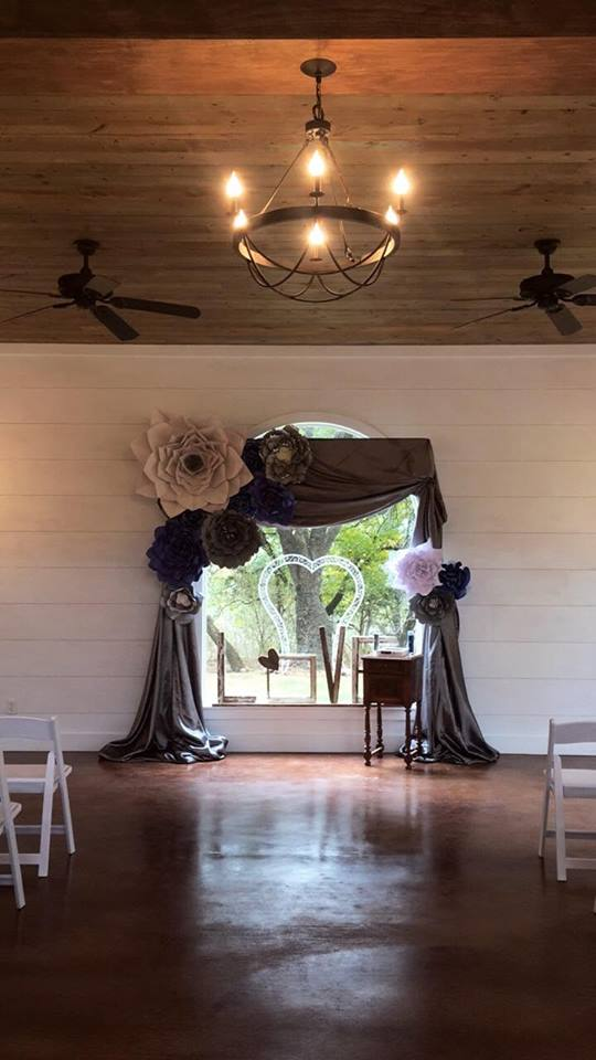 Paper Flowers and draping for wedding backdrop