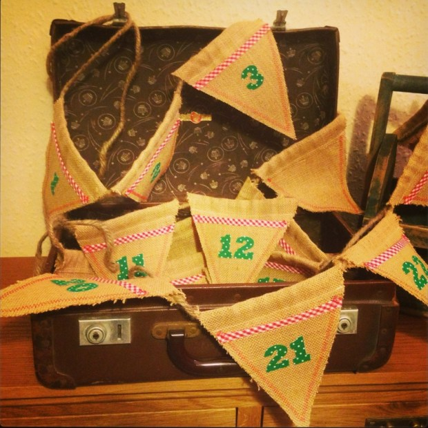 advent calendar hessian bunting handmade